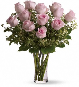 A Dozen Pink Roses in Milford MI, The Village Florist