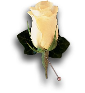 White Rose and Ivy Boutonniere in Aventura FL, Aventura Florist