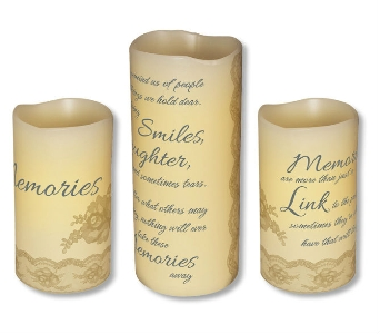 3 PIECE SET MEMORIES CANDLES in Pittsburgh PA, Harolds Flower Shop