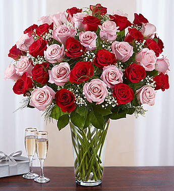 Ultimate Elegance Long Stem Pink &  Red Roses in El Cajon CA, Conroy's Flowers