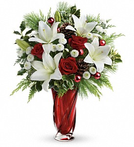 Teleflora's Christmas Swirl Bouquet in North Olmsted OH, Kathy Wilhelmy Flowers