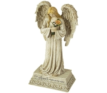 ANGEL WATCH STATUE in Pittsburgh PA, Harolds Flower Shop