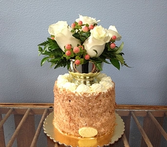 Carrot Cake with Flowers in Portland OR, Portland Bakery Delivery