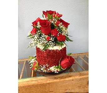 Red Velvet Cake with Red Roses in Portland OR, Portland Bakery Delivery