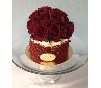 Red Velvet Cake with flowers in Portland OR, Portland Bakery Delivery