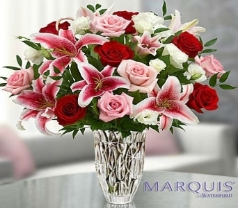 Marquis by Waterford� Red Rose and Lily Bouquet in El Cajon CA, Conroy's Flowers