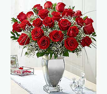 Premium Long Stem Red Roses in Silver Vase in El Cajon CA, Conroy's Flowers