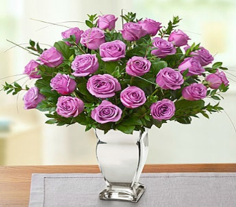 Premium Long Stem Purple Roses in Silver Vase in El Cajon CA, Conroy's Flowers