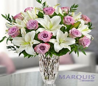 Marquis by waterford Purple Rose and Lily Bouquet in El Cajon CA, Conroy's Flowers