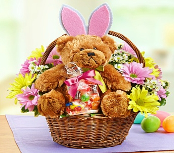 Easter Bunny Bear basket in Santa Monica CA, Edelweiss Flower Boutique