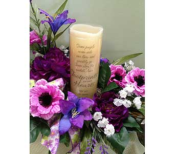 Flameless Memory Candle with Floral Arrangement in Johnstown PA, B & B Floral