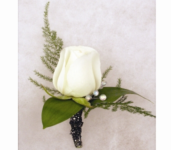 White Rose Boutonniere in Indianapolis IN, McNamara Florist
