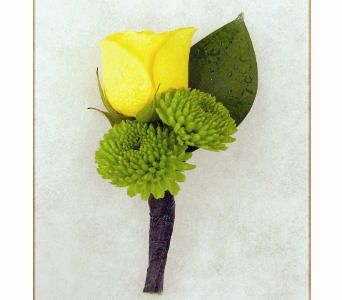Yellow Rose w/Green Poms Boutonniere in Indianapolis IN, McNamara Florist