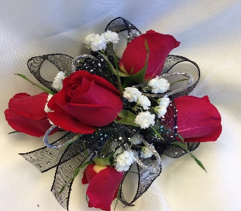 Red Elegance Corsage in Estero FL, Petals & Presents