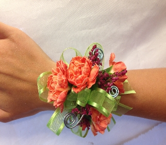 Orange Sunset Corsage in Estero FL, Petals & Presents