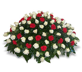 1/2 Pall of White Roses and Red Carnations in Nashville TN, Flowers By Louis Hody