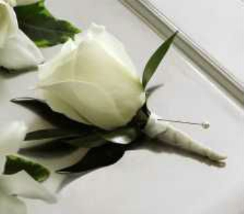 White rose boutonniere in Chicago IL, La Salle Flowers