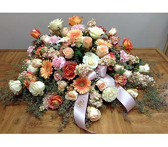 Peaceful Peach Casket Spray in Brownsburg IN, Queen Anne's Lace Flowers & Gifts