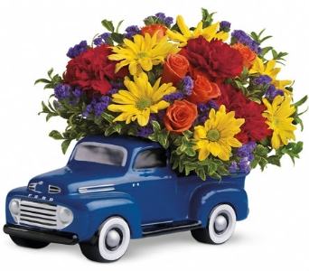 Blue Ford Truck Bouquet in Santa Monica CA, Edelweiss Flower Boutique