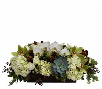 Winter White and Green Elegance Centerpiece in Santa Monica CA, Edelweiss Flower Boutique