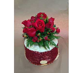 9in Red Velvet Cake with Flowers in Portland OR, Portland Bakery Delivery