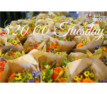 $20.00 Tuesday in Pendleton IN, The Flower Cart