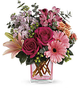 Teleflora's Painterly Pink Bouquet in Brownsburg IN, Queen Anne's Lace Flowers & Gifts