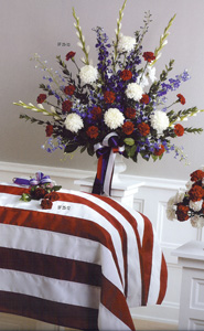 Red White and Blue Vase Arrangement in Randallstown MD, Raimondi's Funeral Flowers