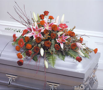 Pink and Red Twig Casket Spray in Randallstown MD, Raimondi's Funeral Flowers