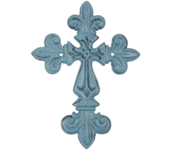 Teal Fleur De Lis Wall Cross in Mayfield Heights OH, Mayfield Floral