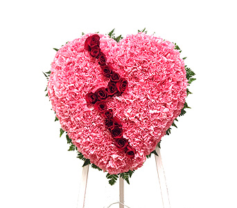 Pink Broken Heart in Randallstown MD, Raimondi's Funeral Flowers