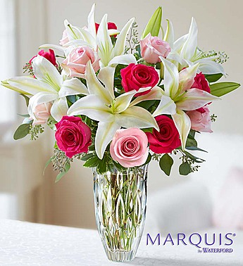 Marquis by Waterford Roses and Lily Bouquet-Large in El Cajon CA, Conroy's Flowers