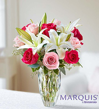 Marquis by Waterford Roses and Lily Bouquet-Medium in El Cajon CA, Conroy's Flowers