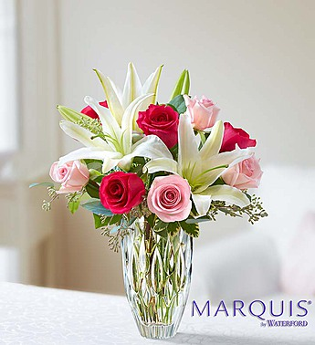 Marquis by Waterford Roses and Lily Bouquet-Small in El Cajon CA, Conroy's Flowers