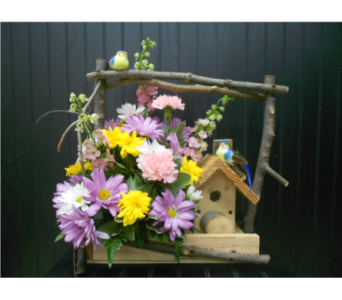Twig Birdhouse Arrangement in Ionia MI, Sid's Flower Shop