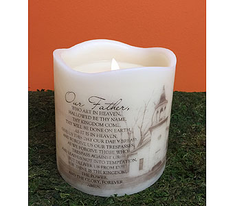 Candle-The Lord''s  Prayer in Brownsburg IN, Queen Anne's Lace Flowers & Gifts