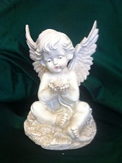 MEMORIAL CHERUB WITH BIRD in Bay City MI, Keit's Flowers