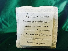 MEMORIAL STONE WITH TEALIGHT IF TEARS COULD BUILD in Bay City MI, Keit's Flowers