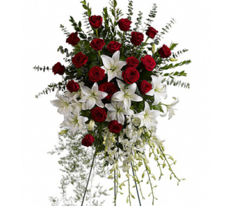 Lily and Rose Tribute Spray in Randallstown MD, Raimondi's Funeral Flowers