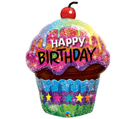 Happy Birthday Cupcake Balloon in Perrysburg & Toledo OH  OH, Ken's Flower Shops