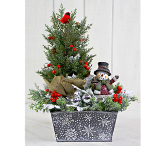 Silver Snowflake Winter Scene in Pendleton IN, The Flower Cart