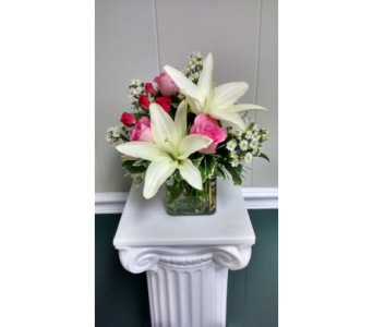 Pink Rose White Lily Cube in Athens GA, Flower & Gift Basket
