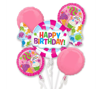 Sweet Shop Mylar Balloon Bouquet in Pendleton IN, The Flower Cart