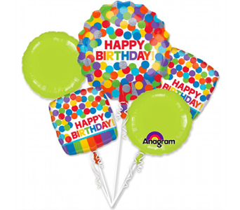 Primary Rainbow Birthday Balloon Bouquet in Pendleton IN, The Flower Cart
