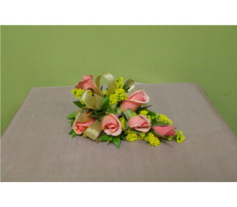 Peach sweetheart rose corsage in Ellicott City MD, The Flower Basket, Ltd