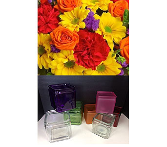 Brights in a Cube in Moon Township PA, Chris Puhlman Flowers & Gifts Inc.