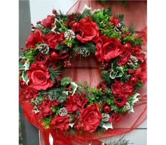 Permanent botanical wreath in reds in Ellicott City MD, The Flower Basket, Ltd