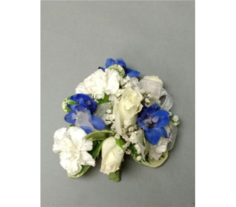 Blue & White Corsage in Chicago IL, La Salle Flowers