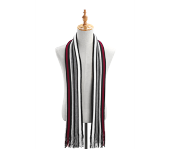 Red/Black Racing Stripes Scarf Acrylic in Pendleton IN, The Flower Cart