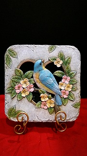 DECORATIVE SQUARE STONE WITH A BLUE BIRD  in Bay City MI, Keit's Flowers
